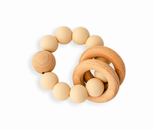 Natural Wood & BPA-Free Silicone Teething Rattle (Oat) - Babe Basics