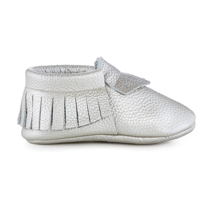Signature Leather Moccasins - METALLIC SILVER
