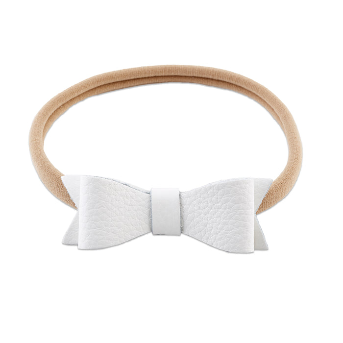 White Genuine Leather Bow Headband - Babe Basics
