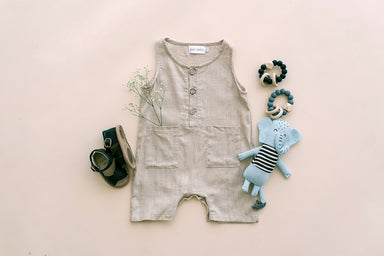 Babe Basics Oatmeal Cropped Linen Baby Romper