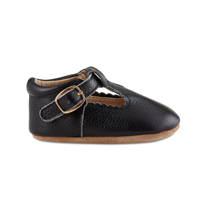 Soft-Sole Leather Mary Jane Moccasins - BLACK