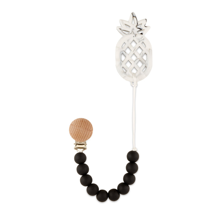 Black Pineapple Teething Pacifier Clip - Babe Basics