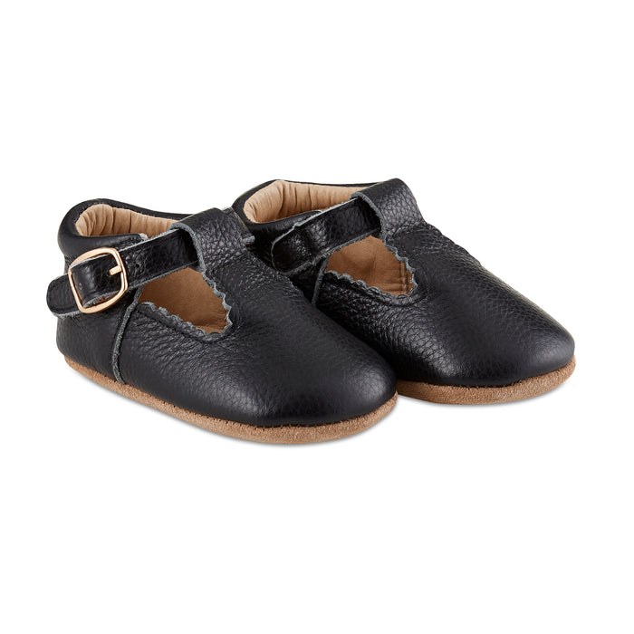 Soft-Sole Leather Mary Jane Moccasins - BLACK - Babe Basics
