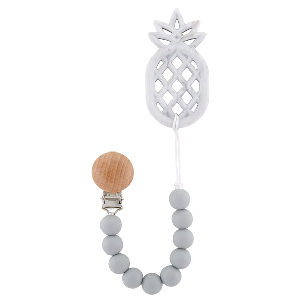 Grey Pineapple Teething Pacifier Clip