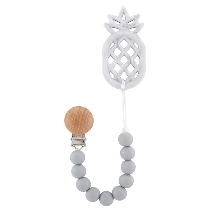 Grey Pineapple Teething Pacifier Clip - Babe Basics