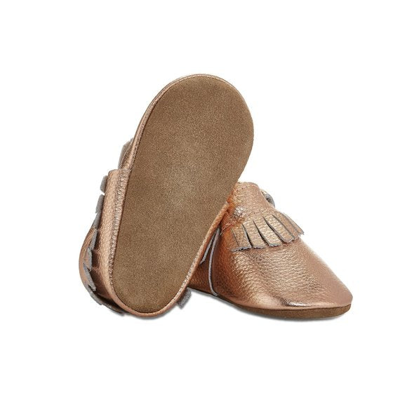 Signature Leather Moccasins -  ROSE GOLD