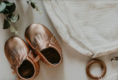 Signature Leather Moccasins -  ROSE GOLD 0-6m - Babe Basics