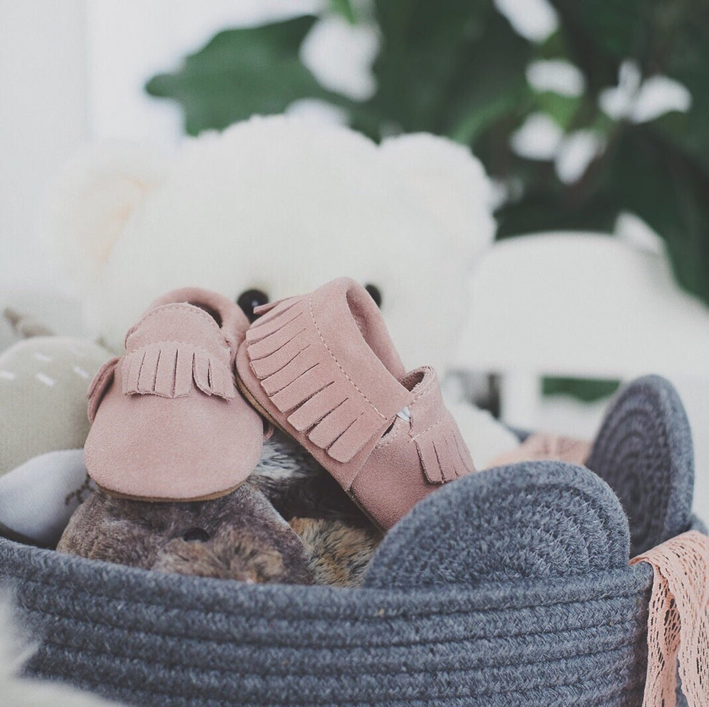 Signature Leather Moccasins -  BLUSH SUEDE