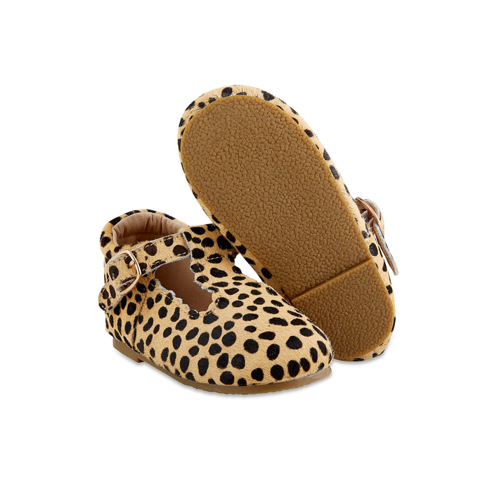 Hard-Sole Leather Mary Jane Moccasins - LEOPARD