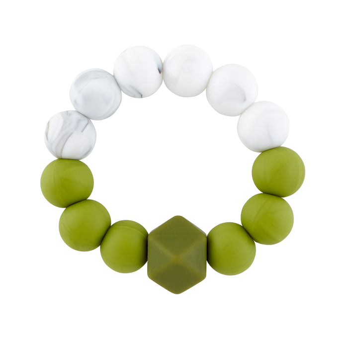 Marble & Olive Teething Rattle - Babe Basics