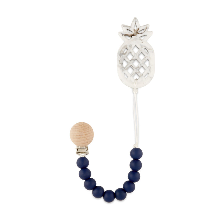 Navy Pineapple Teething Pacifier Clip - Babe Basics
