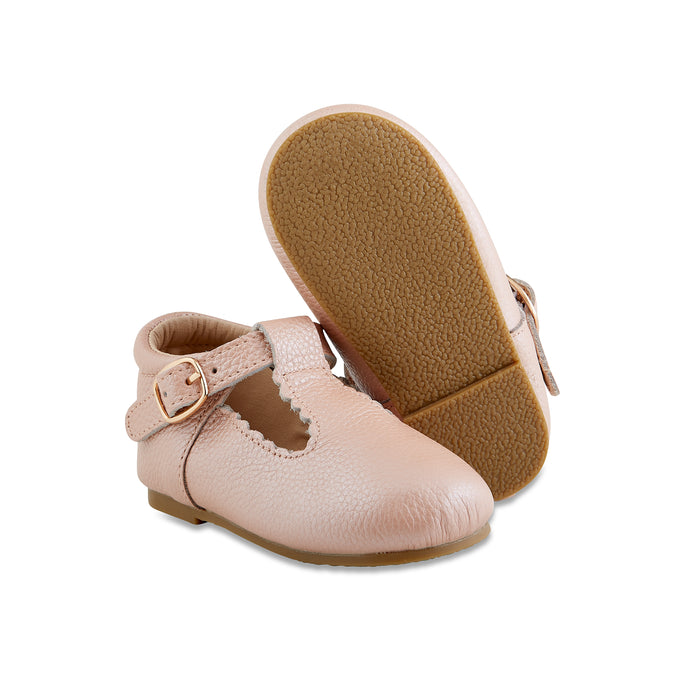 Hard-Sole Leather Mary Jane Moccasins - BLUSH - Babe Basics