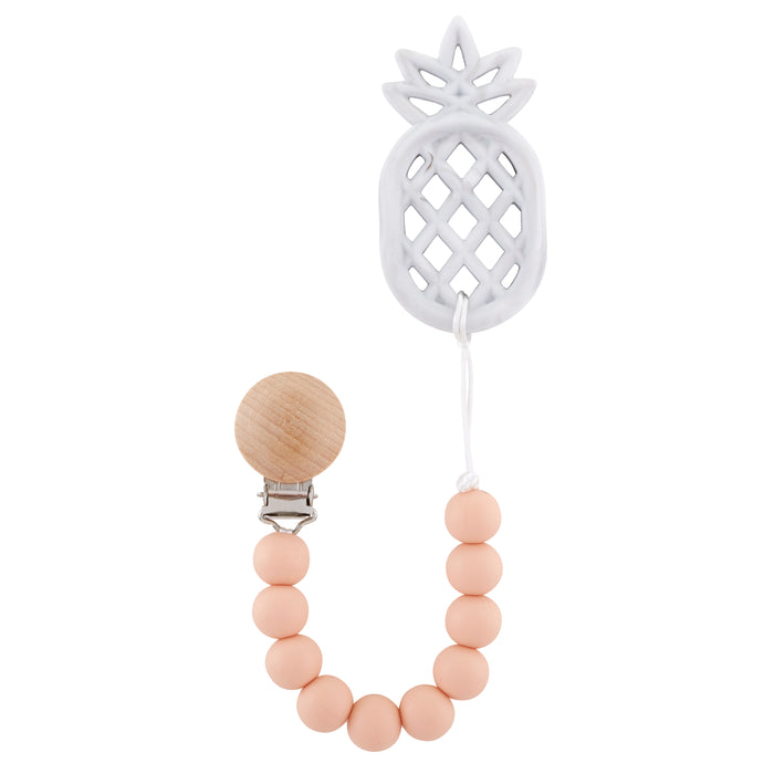 Peachy Pineapple Teething Pacifier Clip - Babe Basics