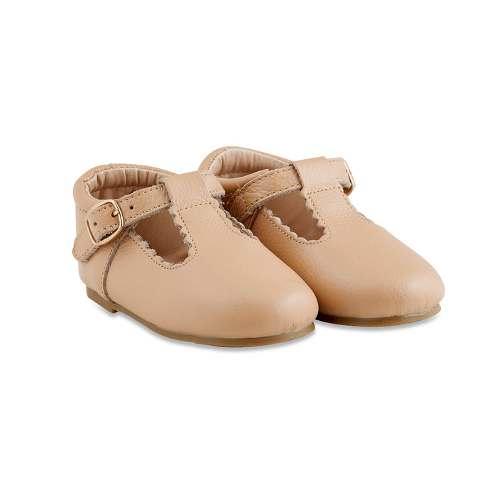 Hard-Sole Leather Mary Jane Moccasins - CARAMEL - Babe Basics