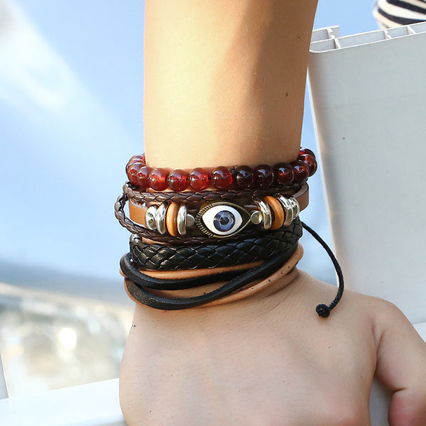 2017 New Woven Cowhide Bracelets Handmade Jewelry For Male and Female Gift - Free Shipping