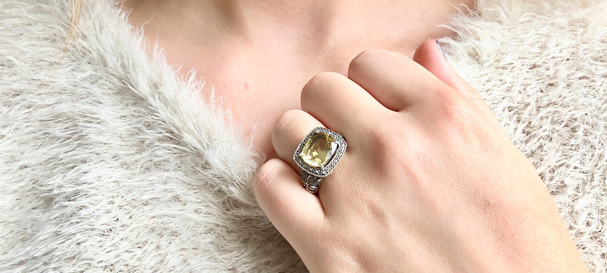 art deco ring citrine scope