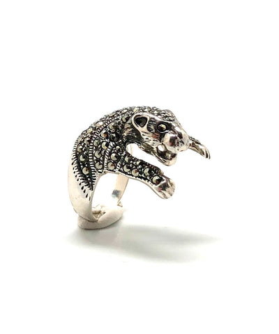 lessisrare Panther silver and marcasite ring