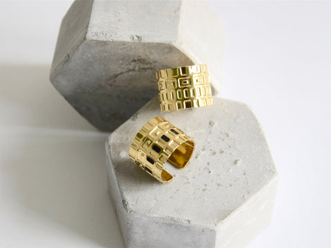 isabelle michel wide gold ring GEARING