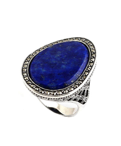 Large lapis lazuli ring in silver and art deco marcasites
