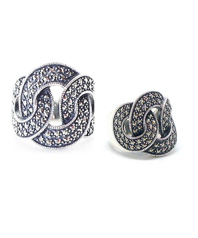 Ring ring art deco silver and marcasites