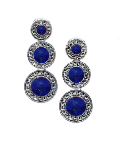 Art deco earrings in lapis lazuli, marcasites and silver - Metron