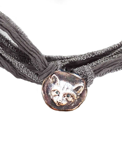 catherine michiels bracelet charm lucky cat silver sapphires