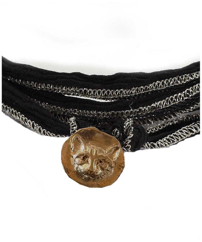 catherine michiels Bracelet charm Lucky cat bronze, yeux diamants noirs