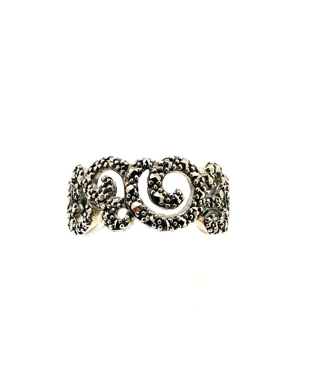 Arabesque ring in silver and marcasite art deco creator