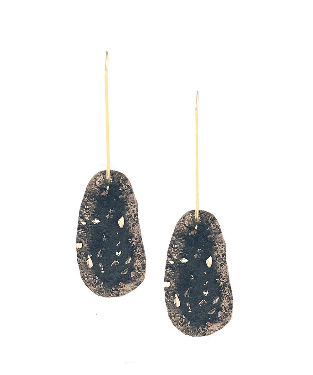 Black bronze creole earrings - Tina Kotsoni
