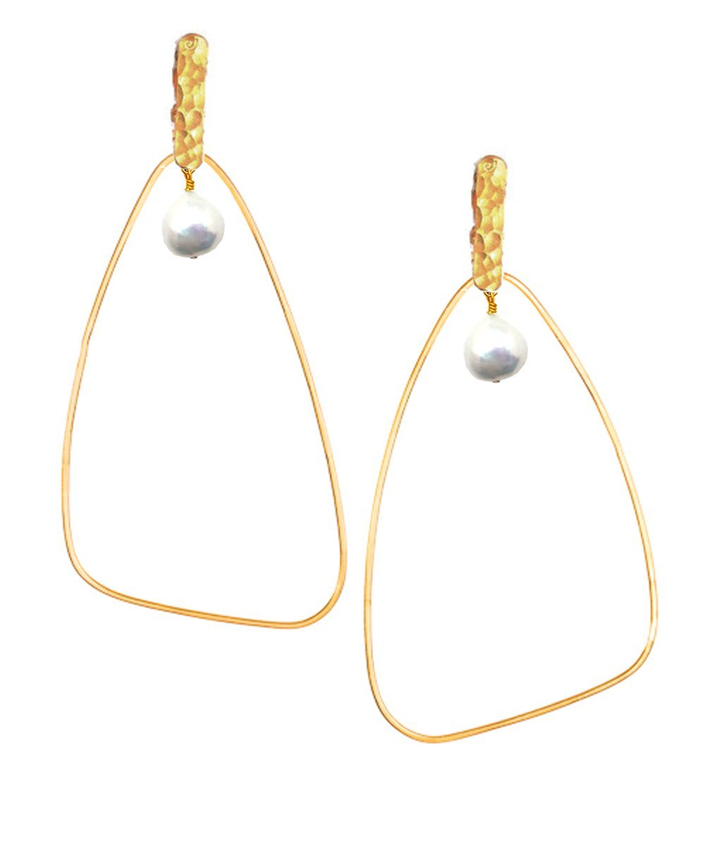 "Oversized gold triangle clip earrings with pearl - ""Ici"" - Eloïse Fiorentino"