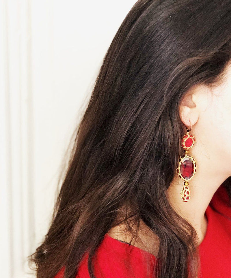 Myriam S earrings red Boks & baum