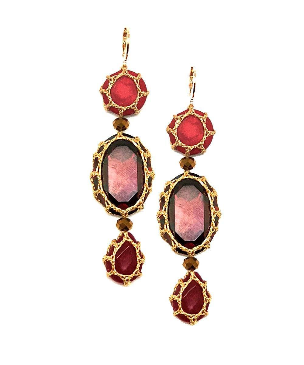 Myriam S red Boks & baum earrings