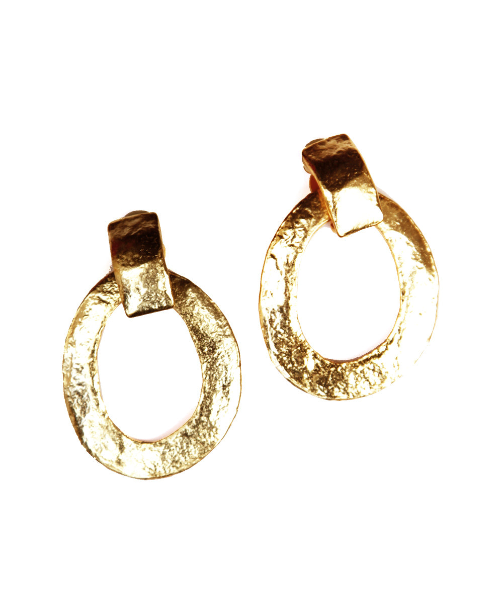 Large gold creole clip earrings - Carole Saint Germes