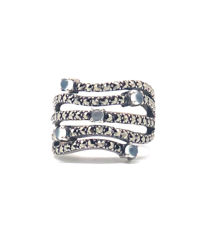 Art deco ring in silver and marcasites and blue agates