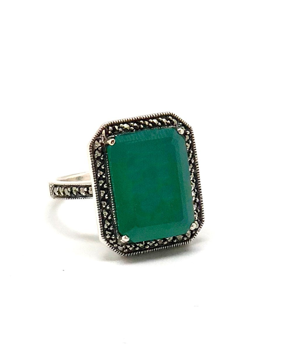 green agate ring silver art deco creator