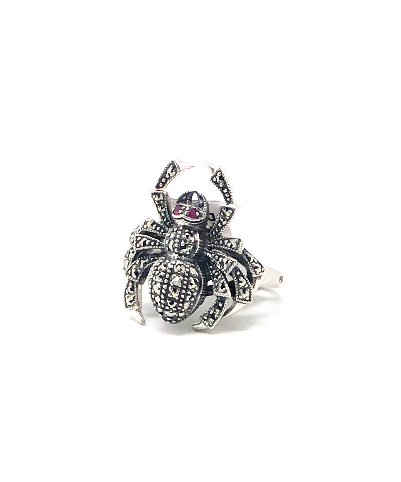 Spider ring in marcasites and silver