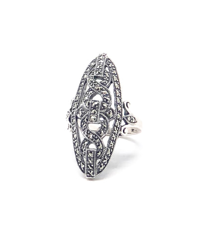 Marquise art deco ring in marcasites and silver