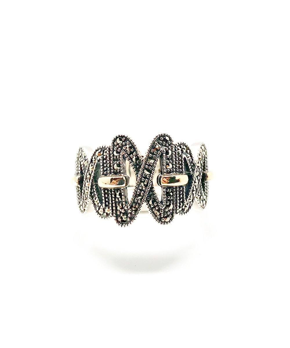 Crossbite silver, marcasite and vermeil creator art deco