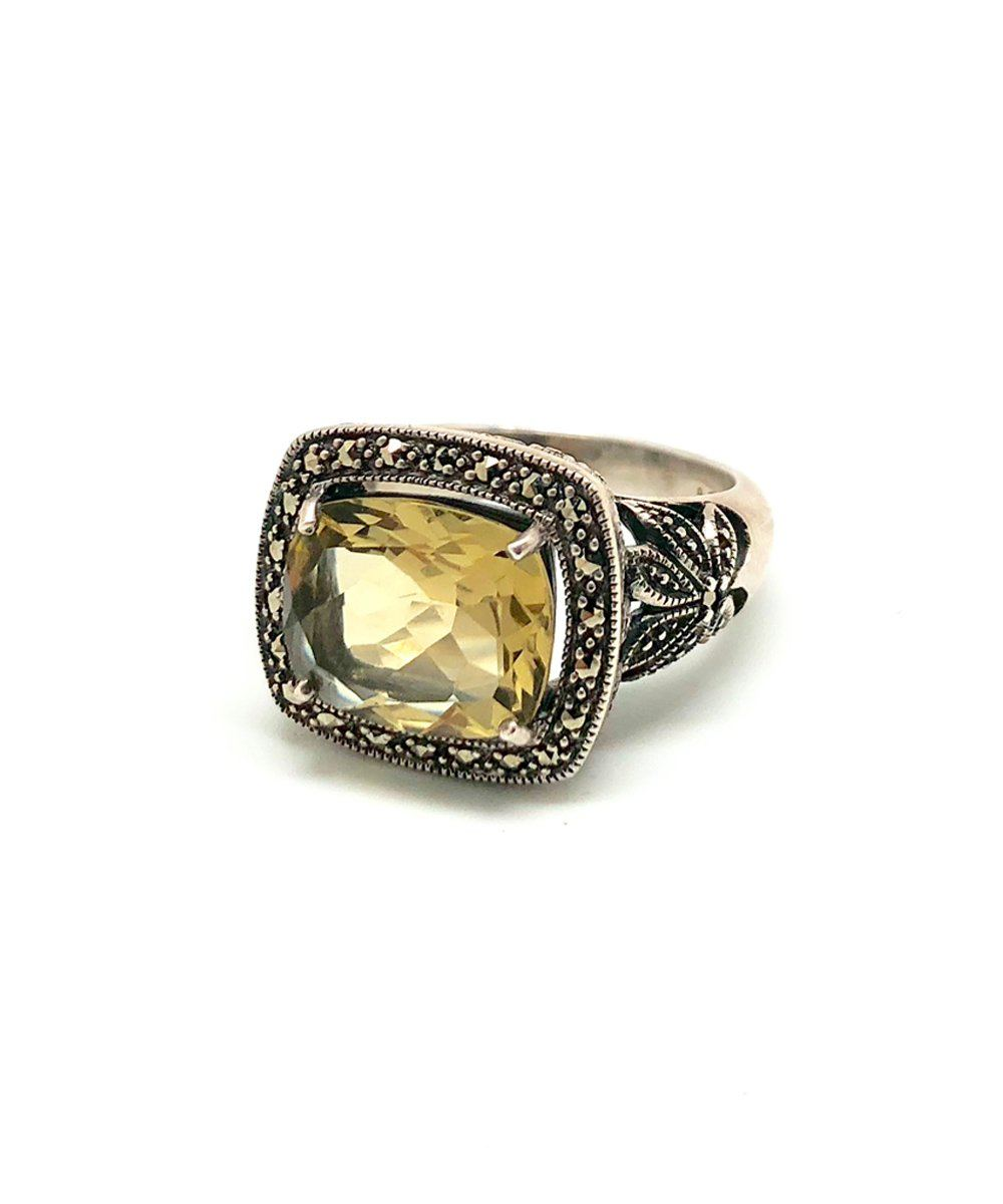 Art deco quartz lemon ring