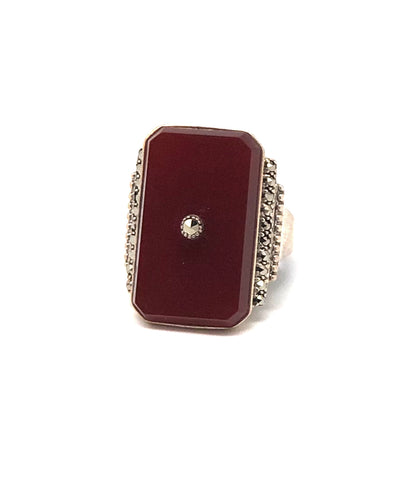 Carnelian art deco ring in silver and marcasites
