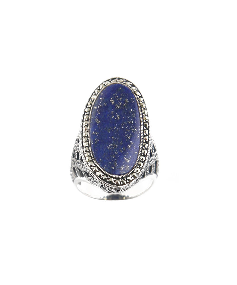 Lapis Lazuli art deco oval ring in silver and marcasites