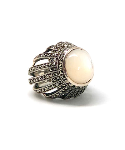 Large mother-of-pearl cabochon ring, silver and marcasites in art deco style