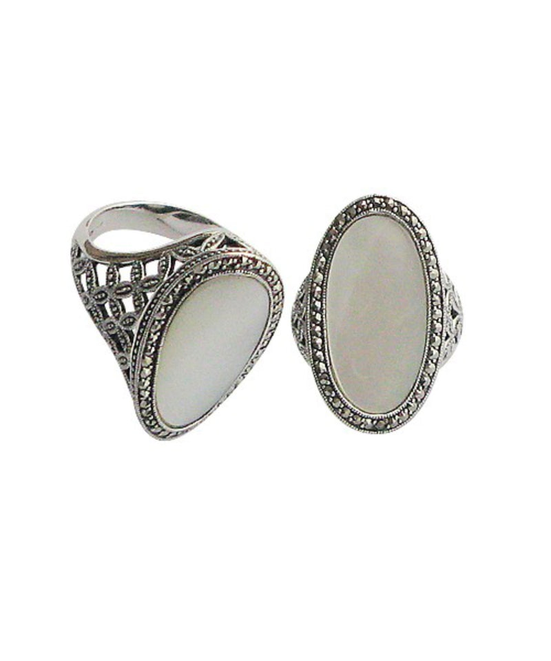 Oval art deco mother-of-pearl ring in silver and marcasites