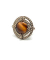 Round art deco tiger eye ring in silver and marcasites
