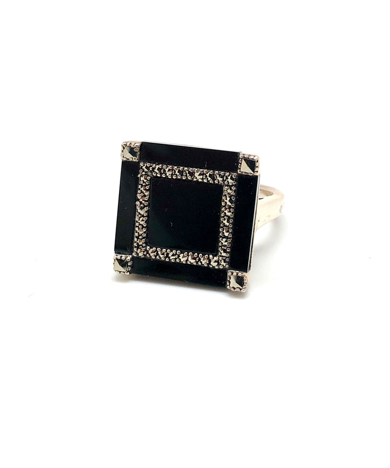 Square onyx ring in silver and marcasites in art deco style