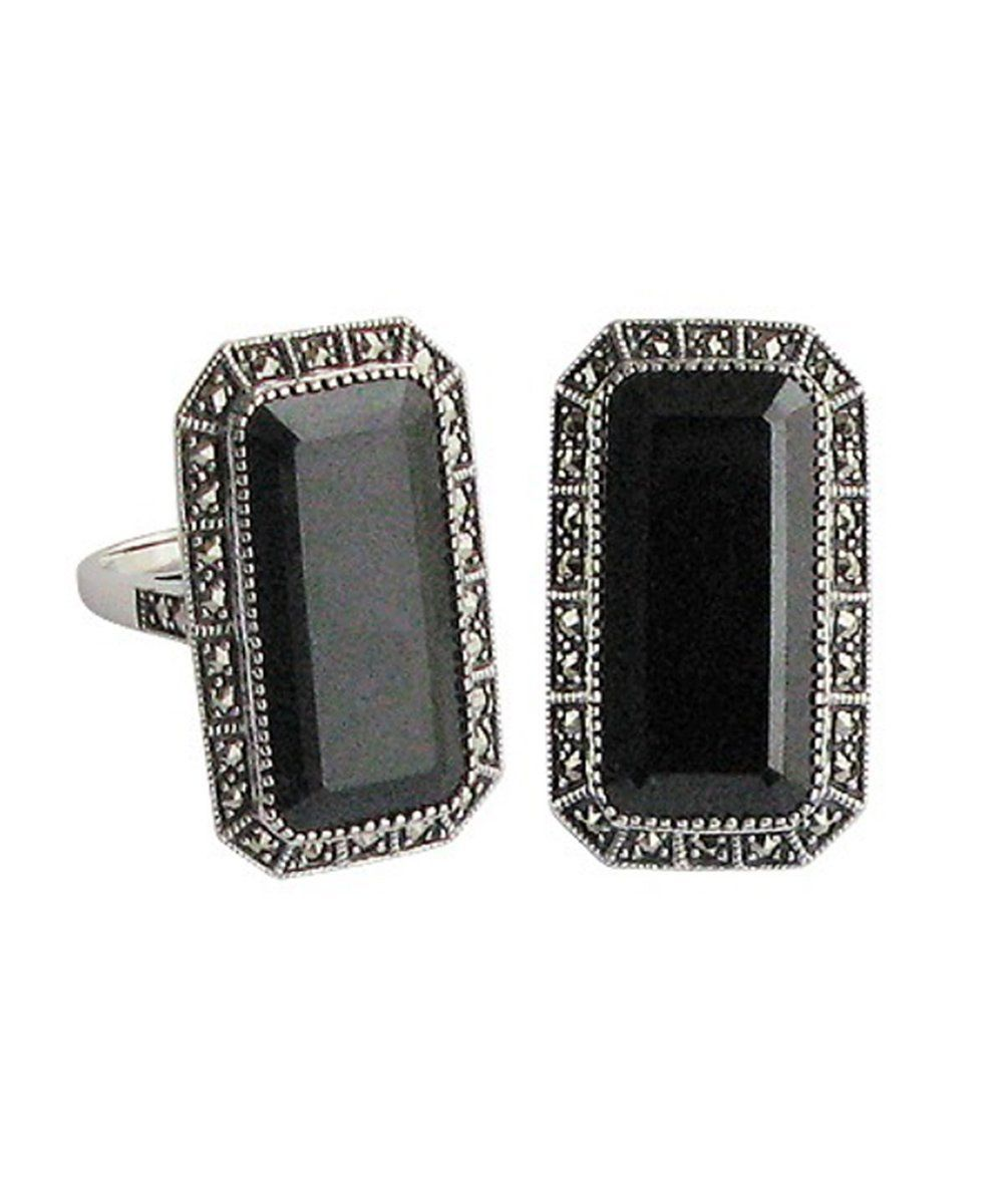 Onyx rectangular silver and marcasite ring creator art deco