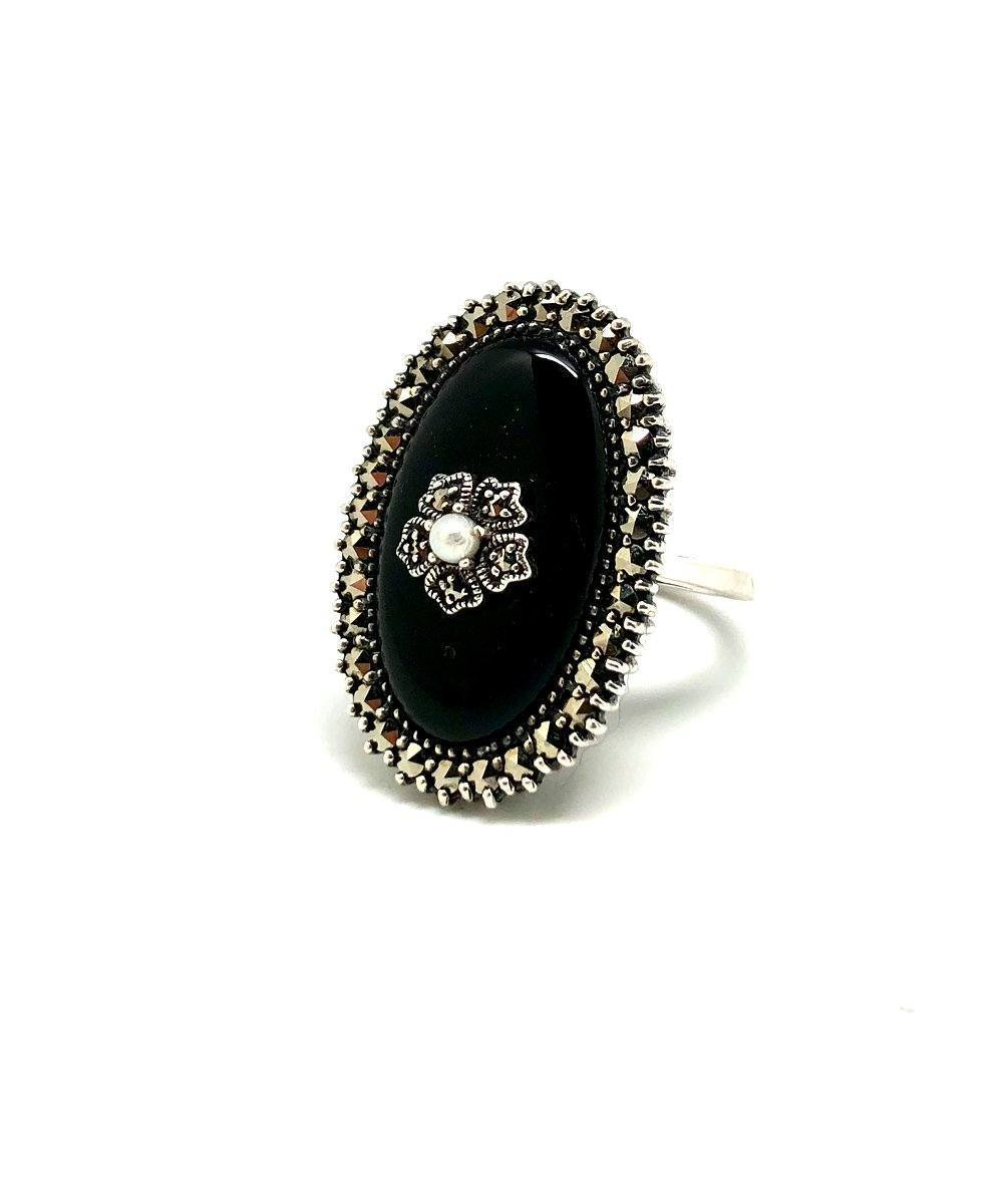 Silver marcasite onyx ring and art deco cultured pearl