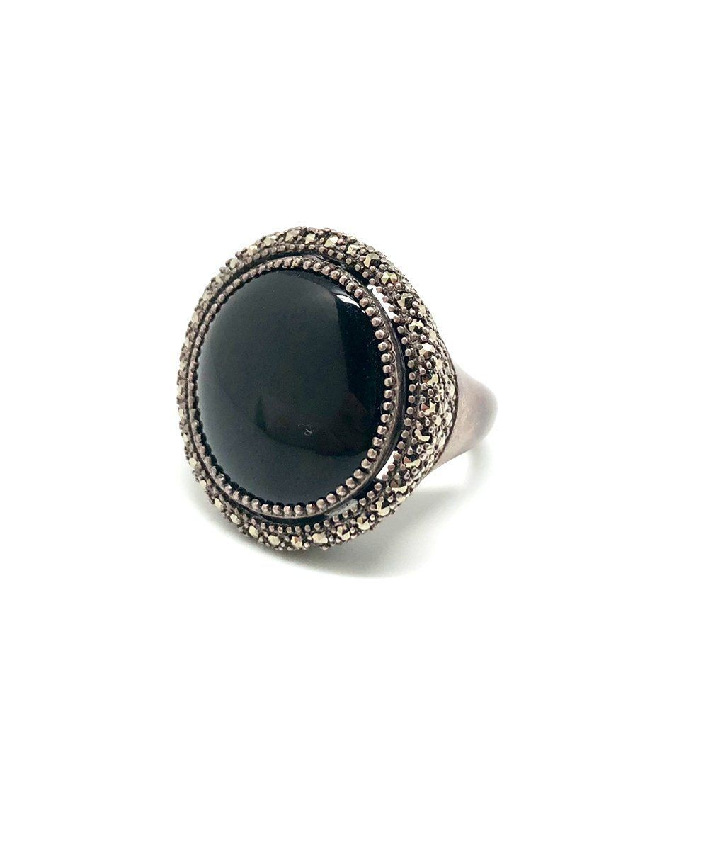 Ring onyx round, silver and marcasites - Metron