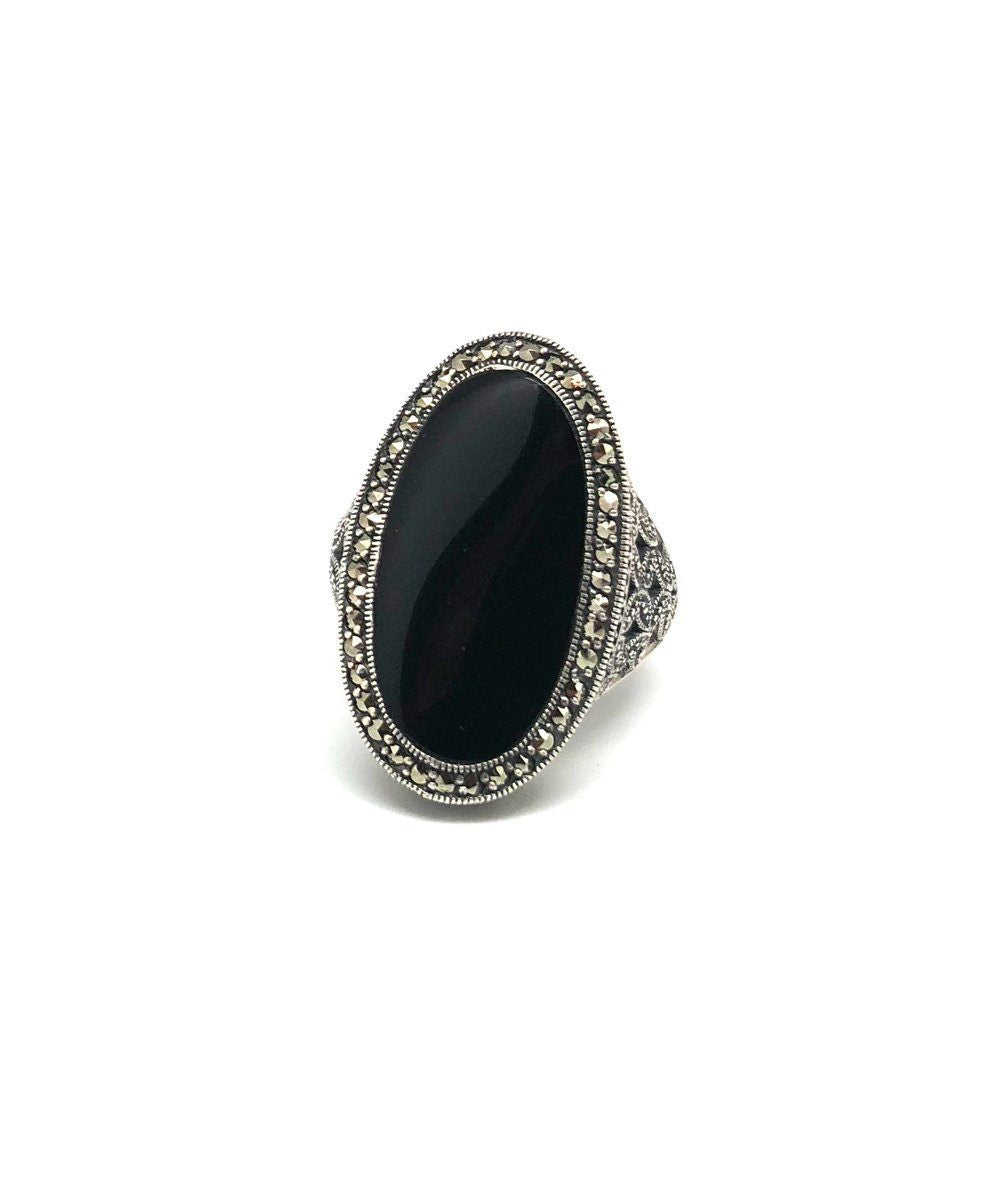 Onyx art deco ring in silver and marcasites
