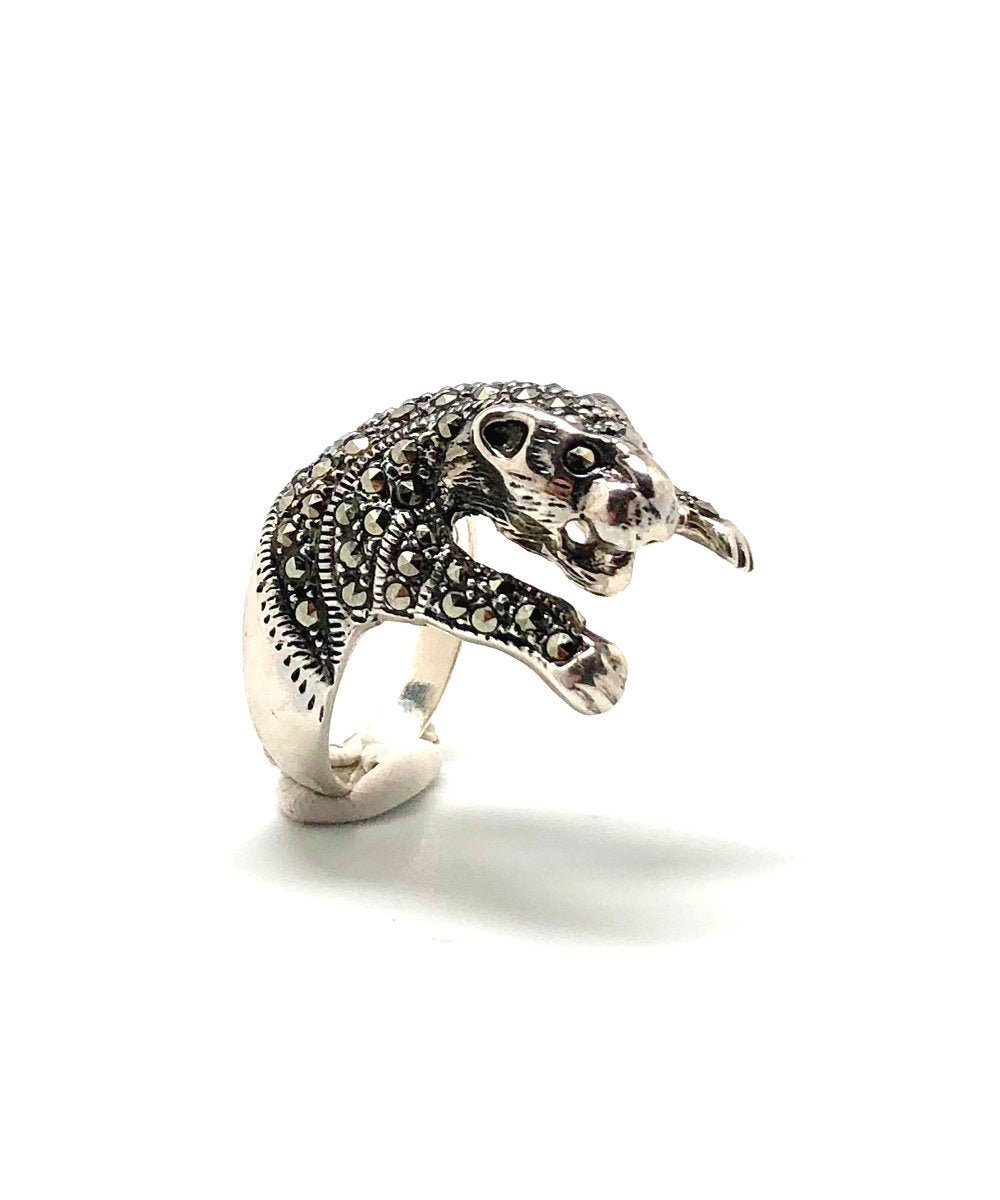Panther marcasite and silver ring 925, from the art deco creator